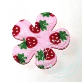 25mm roze bloem aardbei print