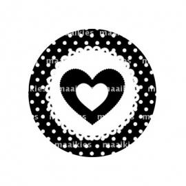 (FB351) hartje zwart dot
