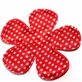 65mm polkadot satijn bloem rood