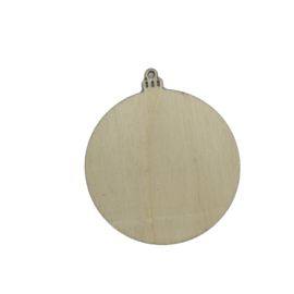 label kerstbal hout
