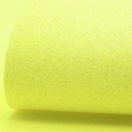 lapje imitatieleer glitter neon geel a4