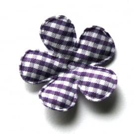 35mm gingham ruit bloemen paars
