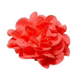 Bloem met gaatjes neon roze 7cm