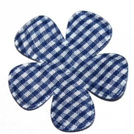 Royal blauw gingham ruit bloem 47mm