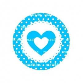 (Fb349) hartje blauw dot