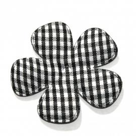 Zwart gingham ruit bloem 47mm