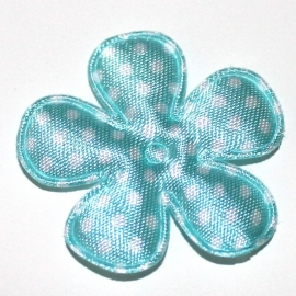 35mm bloem van satijn polkadot baby blauw