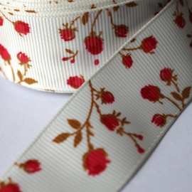 25mm breed ivoor grosgrain bloem rood