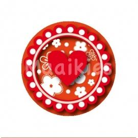(FB283) Hart bloem oranje/rood