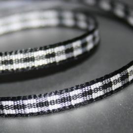 Zwart Gingham Ruit band 4mm breed