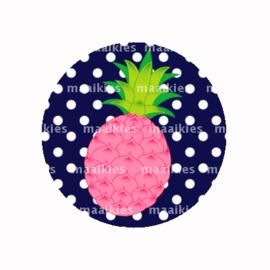 (FB624) roze ananas navy stip