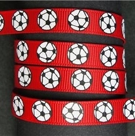 Voetbal lint 10mm rood p/m