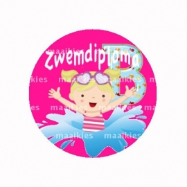 (FB516) zwemdiploma meisje B roze