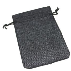 Linnen zakje zwart  (10x14cm)