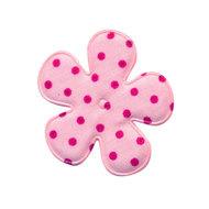 35mm polkadot bloem stof roze/felroze