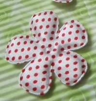 47mm bloem polkadot wit rood
