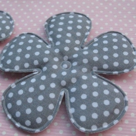 65mm grijs polkadot bloem stof
