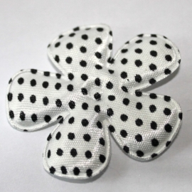 47mm polkadot bloem satijn wit