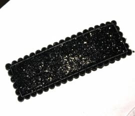 Glitter kniphoesje rechthoek zwart