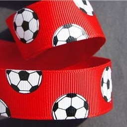 Voetbal lint rood p/m