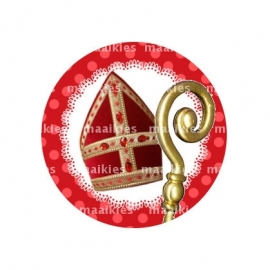 (FB486) Sint mijter en staf rood