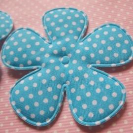 65mm felblauw polkadot bloem stof