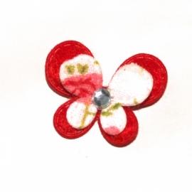 Mini dubbellaags vlinder rood