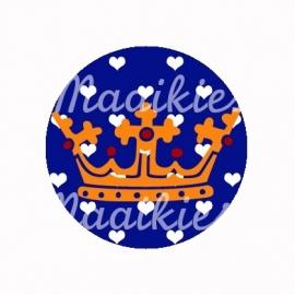 (FB196)  Kroon oranje/blauw