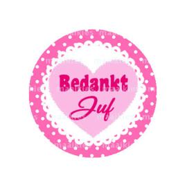 (FB585) bedankt juf roze hart
