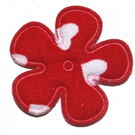 25mm bloem met hartjes print rood