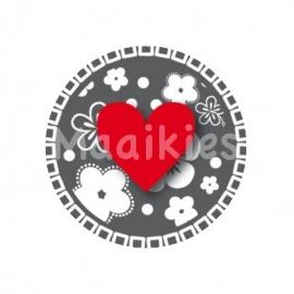 (FB279) Hart bloem grijs/rood