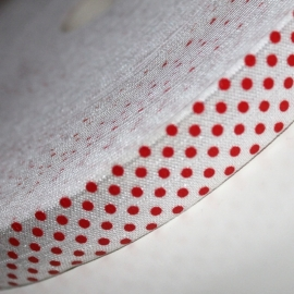 Haarband elastiek wit met rode polkadot 18mm breed