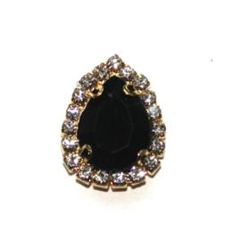 druppel strass steen goud zwart