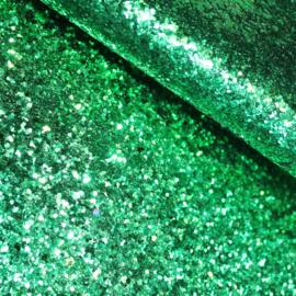 lapje grove glitter imitatie leer groen