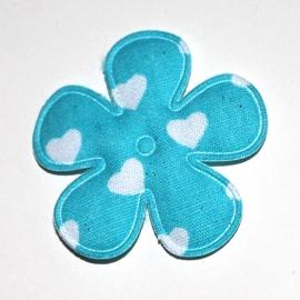 35mm bloem met hartjes print Aqua