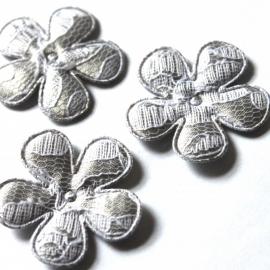 35mm Bloem satijn/kant zilvergrijs