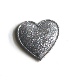 glitter hartje zilver 2cm