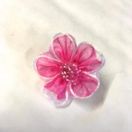 Dubbele organzabloem roze/witmet kraaltjes 1 stuks