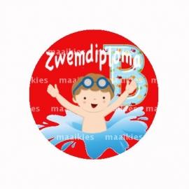 (FB513) zwemdiploma jongen B rood