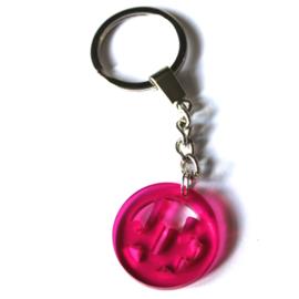 sleutelhanger rondje juf roze