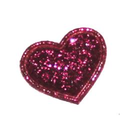mini glitter hartje fuchsia (17mm)