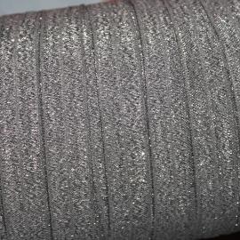Haarband elastiek glitterglans grijs (15mm)