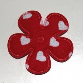 35mm bloem met hartjes print rood