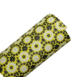 Pu leer geel zwarte bloem motief