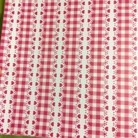 Mooi kwaliteit pu leer roze hartjes ruit