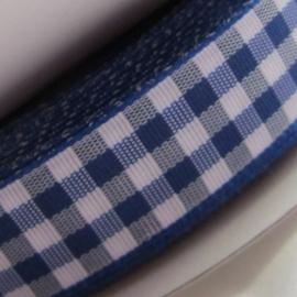 Mooi blauw satijn gingham ruitband 15mm breed
