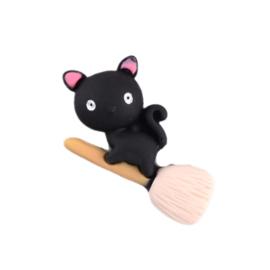 Flatback zwarte kat op bezem