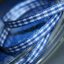 Royal blauw Gingham Ruit band 4mm breed