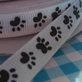 10 mm breed wit geweven lint met zwarte hond / kat pootjes