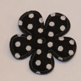 25mm polkadot bloem stof zwart